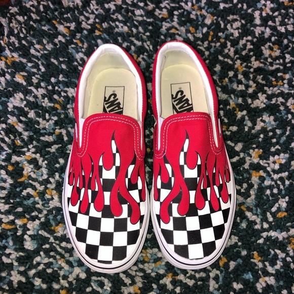 Vans Slipons Checkerboard Flame Red